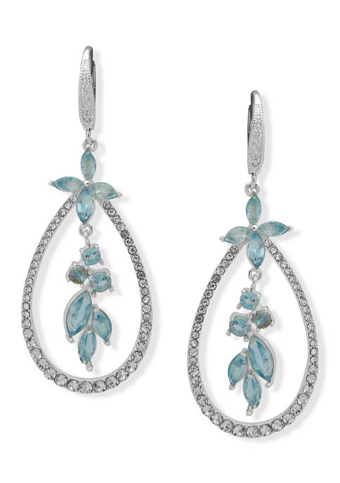 Anne Klein Silver-Tone Aqua Flower Orbital Drop Earrings