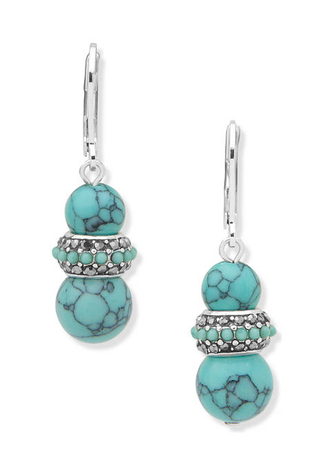 Silver-Tone Turquoise Multi Leverback Drop With Rondell Earrings