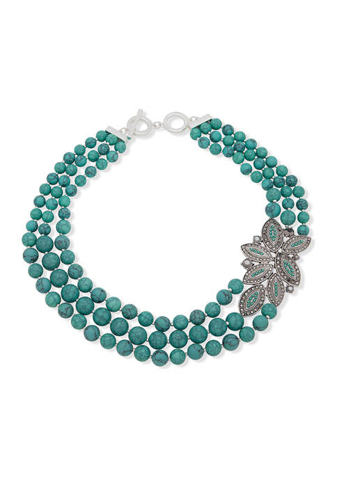 Anne Klein Silver-Tone Turquoise Multi Beaded Torsade Necklace