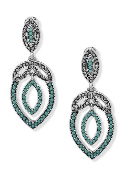 Silver-Tone Turquoise Multi EZ Comfort Clip Double Drop Earrings