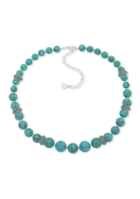 Silver-Tone Turquoise Collar Necklace
