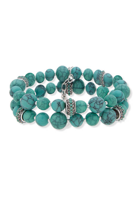 Anne Klein Silver-Tone Turquoise 2 Row Pearl Stretch