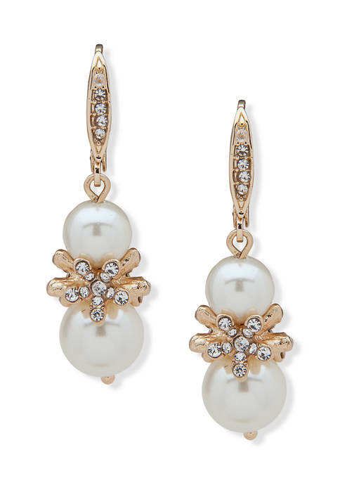 Anne Klein Gold-Tone White Pearl Flower Double Drop