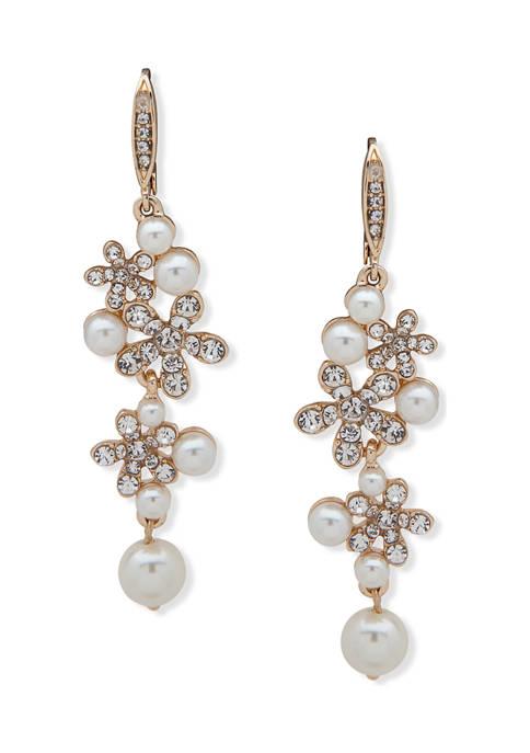 Anne Klein Gold-Tone White Flower Pearl Linear Earrings