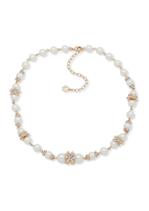 Anne Klein Gold-Tone White Flower Pearl Collar Necklace
