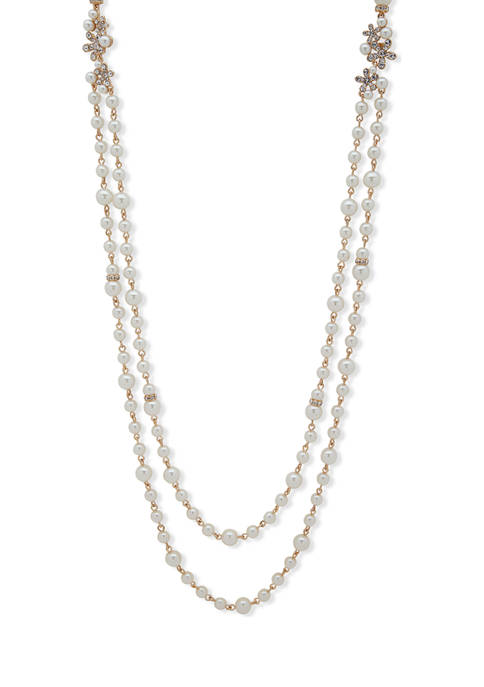 Anne Klein Gold-Tone White 42 in Length Pearl