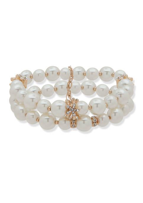 Anne Klein Gold-Tone White Stretch Bracelet Set