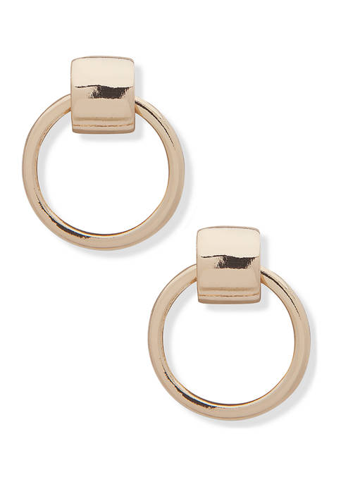 Anne Klein Gold-Tone Post Drop Hoop Earrings