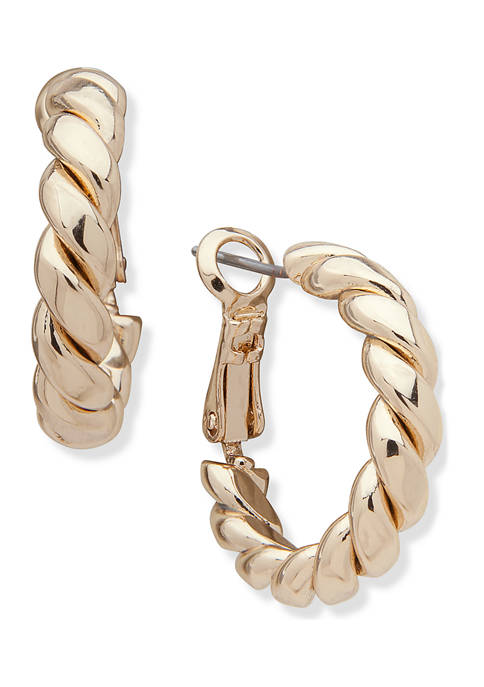 Anne Klein Gold-Tone Small Twisted Tube Hoop Earrings