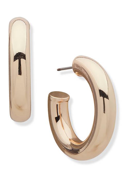 Gold-Tone Small Tube C Hoop Earrings
