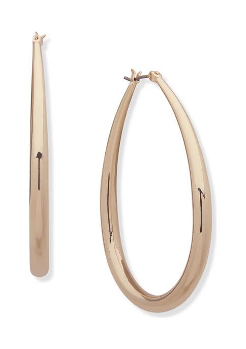 Anne Klein Gold-Tone Elongated Tube Hoop Earrings