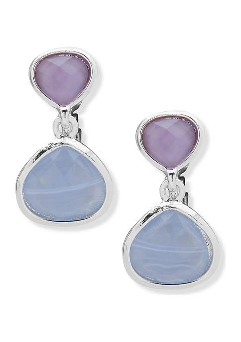 Anne Klein Silver-Tone Blue Lace EZ Comfort Clip