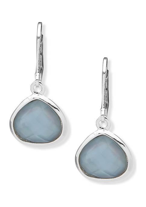 Silver-Tone Periwinkle Stone Drop Earrings