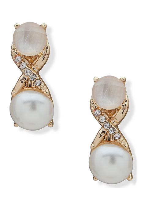 Gold-Tone White Pearl EZ Comfort Clip Button Earrings