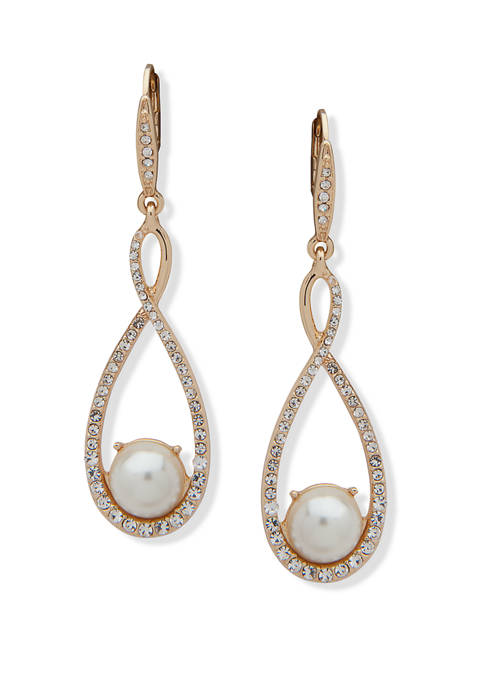 Gold Tone White Pearl MOP Pavé Orbital Earrings