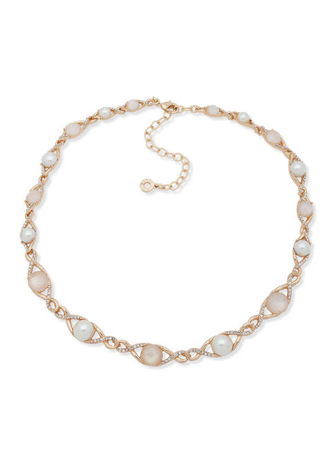 Gold-Tone White Mother-of-Pearl Collar Necklace