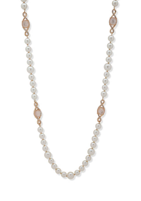 Gold-Tone White Mother-of-Pearl 42 Inch Strand Necklace