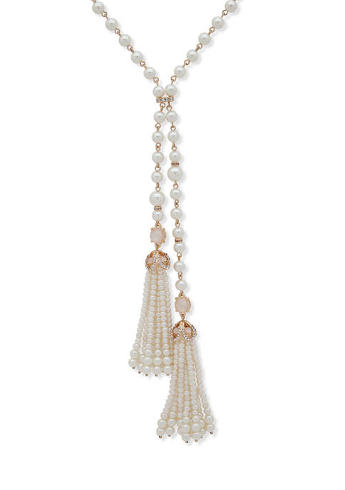 Anne Klein Gold-Tone White Mother of Pearl Lariat