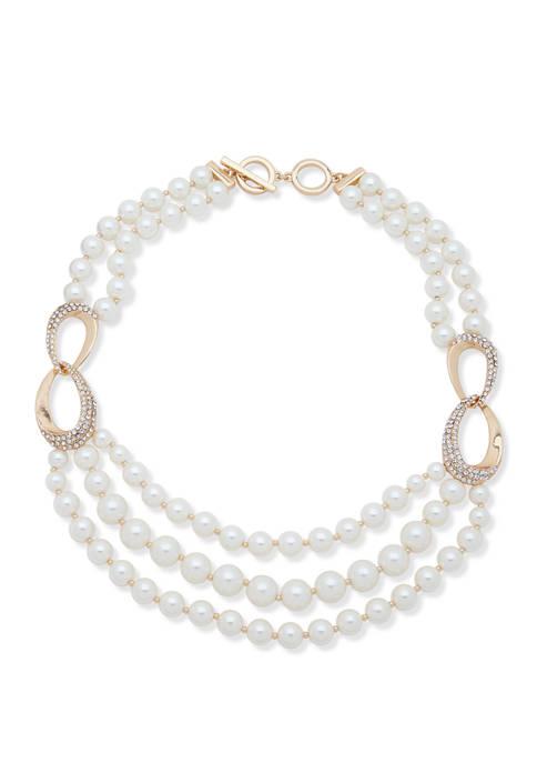 Anne Klein 17 Inch Gold Tone White Pearl