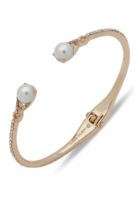 Anne Klein Gold Tone White Pearl Hinge Bangle