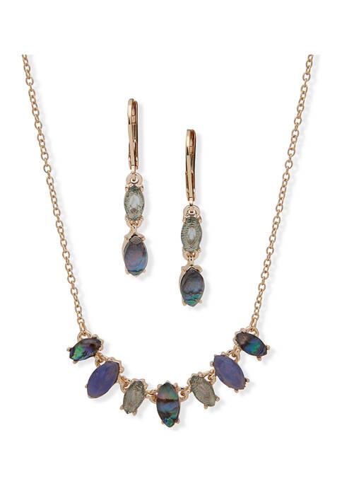 Gold Tone Blue Navette Necklace Earrings Set