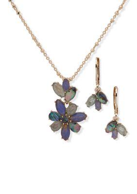 Anne Klein Women Gold Tone Blue Navette Flowers Necklace Earrings Set