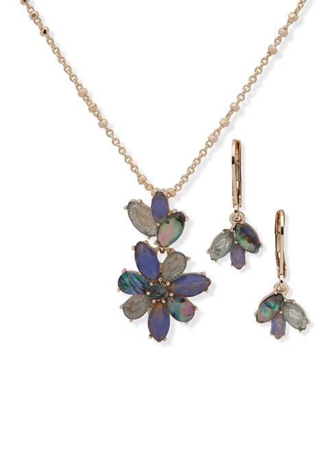 Anne Klein Gold Tone Blue Navette Flowers Necklace