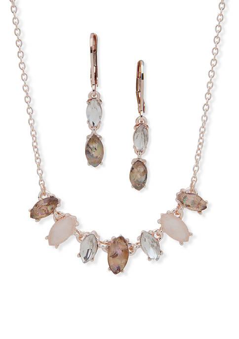 Anne Klein Rose Gold Tone Blush Navette Necklace