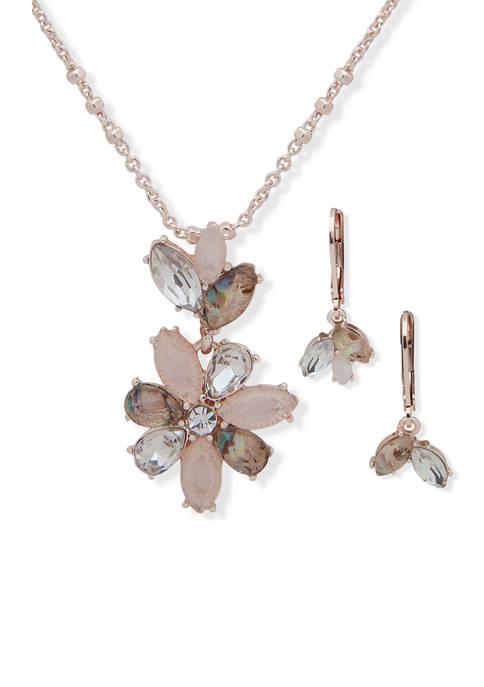 Anne Klein Rose Gold Tone Blush Navette Flowers