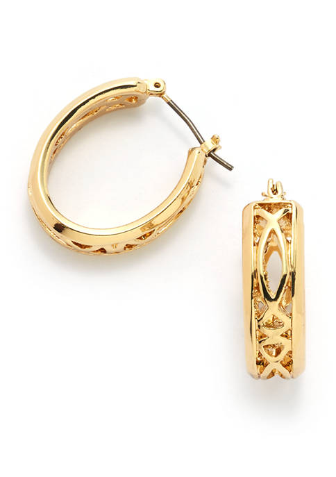 Anne Klein Open Work Gold Tone Hoop Earrings