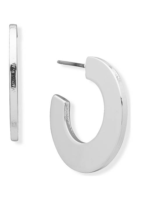 Anne Klein Silver-Tone Flat C Hoop Earrings