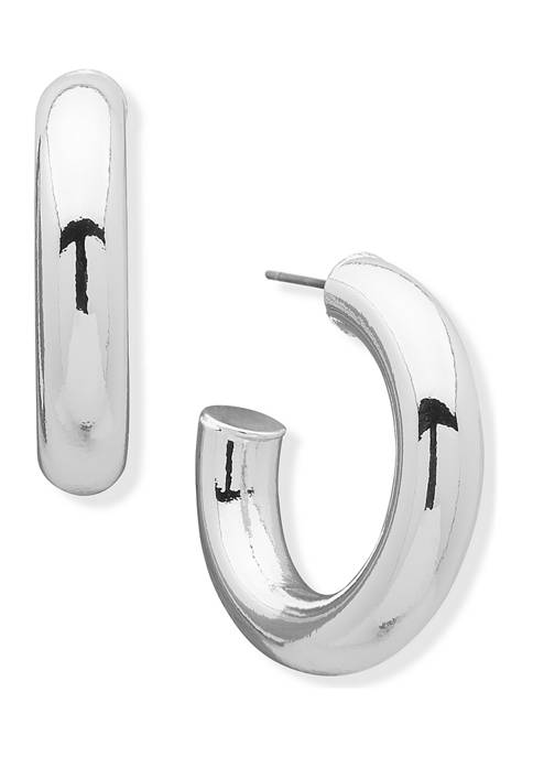 Anne Klein Silver-Tone Small Tube C Hoop Earrings