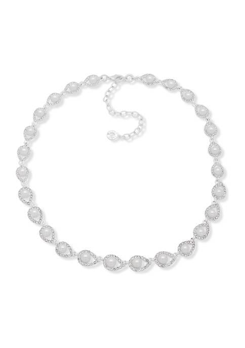 Anne Klein 16 Inch Silver Tone Crystal Pearl