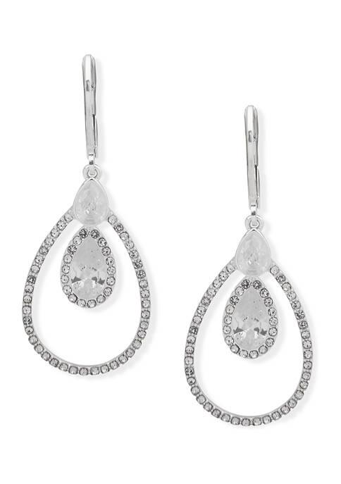 Silver Tone Pear Cubic Zirconia Orbital Earrings