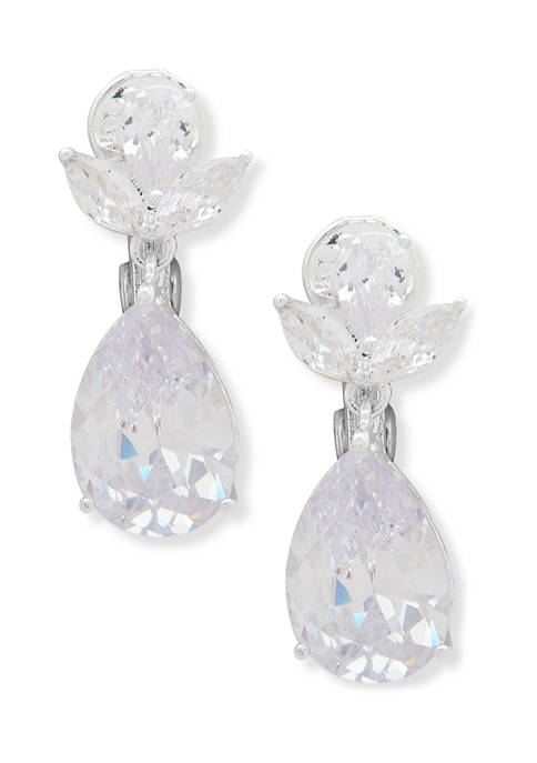Silver Tone Teardrop Comfort Clip Earrings with Navette Stones