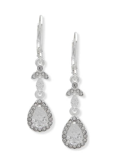 Anne Klein Silver Tone Cubic Zirconia Teardrop Earrings