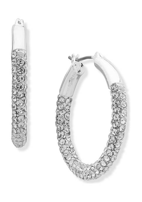 Anne Klein Silver Tone Pave Tubular Hoop Earrings
