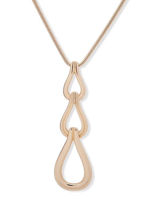 Anne Klein Gold Tone Link Pendant Necklace