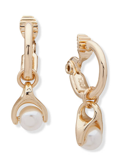 Anne Klein Gold Tone Hoop with Pearl Drop