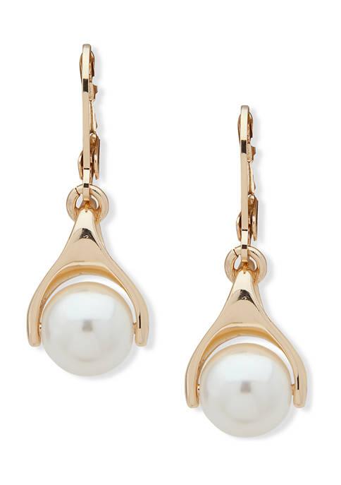 Anne Klein Gold Tone Pearl Drop Earrings