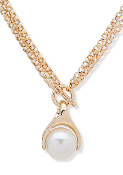 Anne Klein Gold Tone Convertible Pearl Pendant Necklace