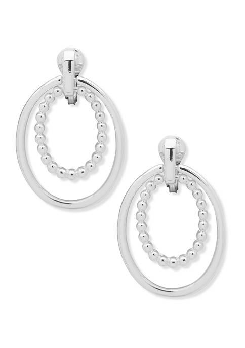 Silver Tone Doorknocker EZ Comfort Clip Earrings