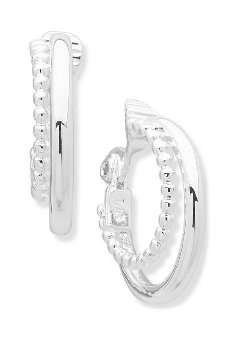 Silver Tone Multi Ring Hoop EZ Comfort Clip Earrings