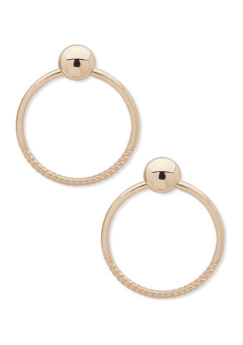 Anne Klein Gold Tone Texture Post Hoop Earrings