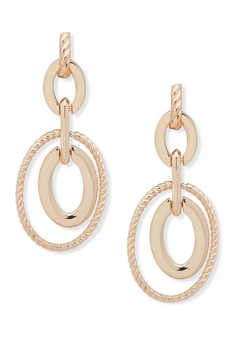 Anne Klein Gold Tone Post Orbital Earrings