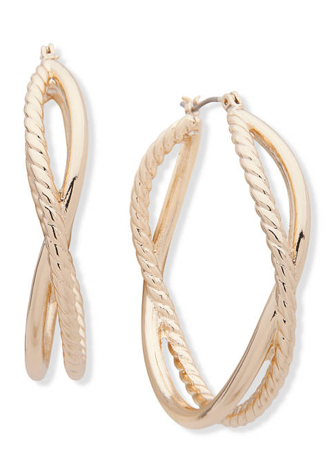 Anne Klein Gold Tone Smooth Rope Texture Hoop