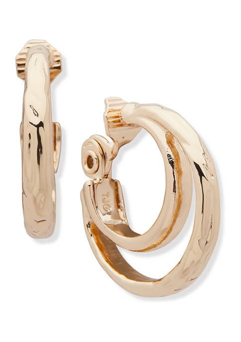 Anne Klein Gold Tone Medium Hammered Tube Comfort