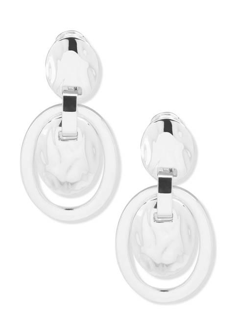 Anne Klein Silver Tone Hammered Texture Drop Clip