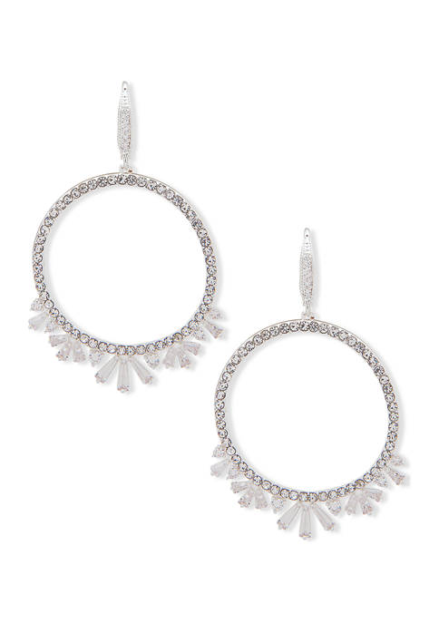 Anne Klein Silver Tone Crystal Drop Hoop with