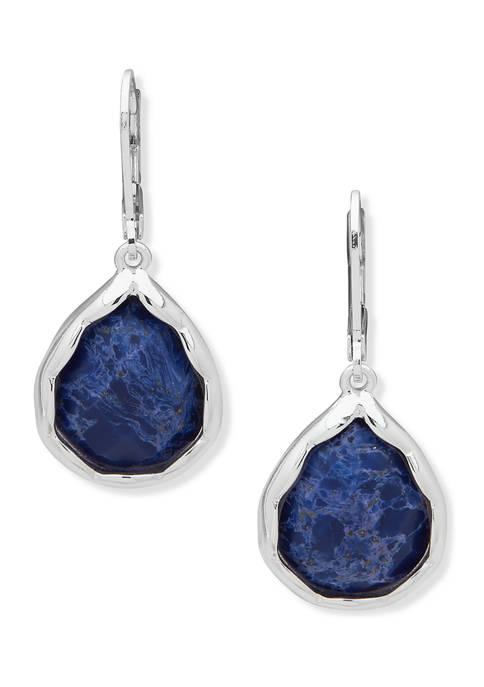 Anne Klein Silver Tone Stone Drop Earrings